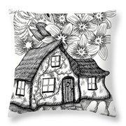 Fairy House, Bee, And Dogwood Throw Pillow