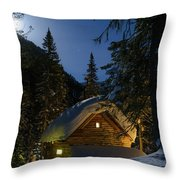 Fairy House In The Forest Moonlit Winter Night Throw Pillow