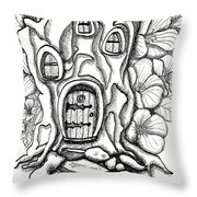 Fairy House Stump And Hibiscus Throw Pillow