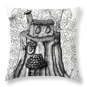 Fairy House Stump With Penthouse Throw Pillow