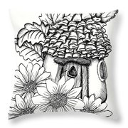 Fairy House With Pine Cone Roof And Daisies Throw Pillow