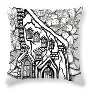 Fairy Stucco House With Flowers Throw Pillow