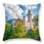 Fairytales From Neuschwanstein Castle Throw Pillow