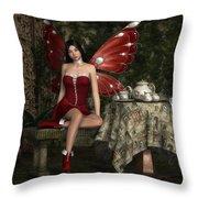 Fairy Tea Time Throw Pillow