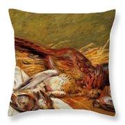 Faisans Canapetiere Et Grives 1902 Throw Pillow