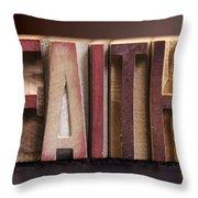 Faith - Antique Letterpress Letters Throw Pillow