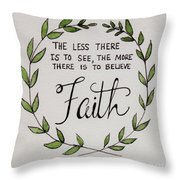 Faith Laurel Wreath Throw Pillow
