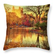 Fall Afternoon In Central Park Throw Pillow