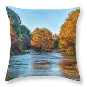 Fall Along The Frio River Throw Pillow