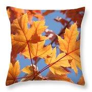 Fall Art Orange Autumn Leaves Blue Sky Baslee Troutman Throw Pillow