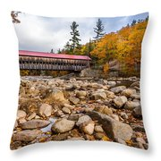 Fall At Albany Covered Bridge Throw Pillow