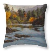 Fall At Colliding Rivers Throw Pillow