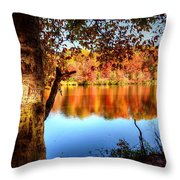 Fall At Lake Throw Pillow