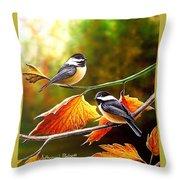 Fall Chickadees Throw Pillow