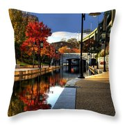 Fall Colors Along The Canal Throw Pillow by Tim Wilson