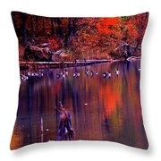 Fall Colors And Geese Throw Pillow