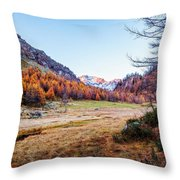 Fall Colors At Alpe Devero Throw Pillow