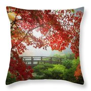Fall Colors By The Moon Bridge Throw Pillow