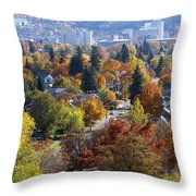 Fall Colors In Spokane From The Post Street Hill Throw Pillow