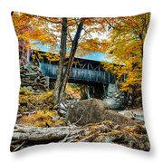 Fall Colors Over The Flume Gorge Covered Bridge Throw Pillow