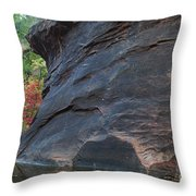 Fall Colors Peek Around Mountain Horizontal Number 1 Throw Pillow