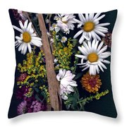 Fall Floral Collage Throw Pillow