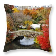 Fall Foliage In Central Park Throw Pillow