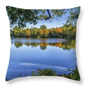Fall Foliage At Turners Pond In Milton Massachusetts Throw Pillow