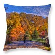Fall Foliage Gated Estate Throw Pillow