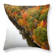 Fall Foliage In Hudson River 10 Throw Pillow