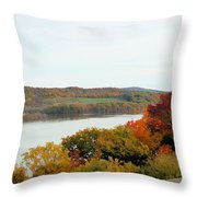 Fall Foliage In Hudson River 5 Throw Pillow