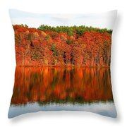 Fall Foliage Reflection Kennebec River Hallowell Throw Pillow