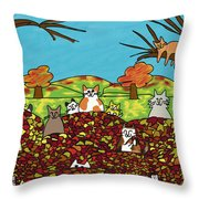 Fall Kitties Throw Pillow