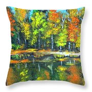 Fall Landscape Acrylic Painting Framed Throw Pillow