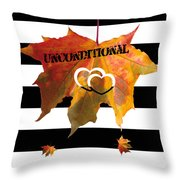 Fall Leaf Love Typography On Black And White Stripes Throw Pillow