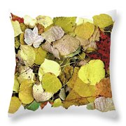 Fall Leaf Vignette Throw Pillow by JQ Licensing