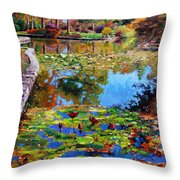 Fall Leaves On Lily Pond Throw Pillow