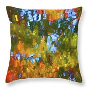 Fall Leaves On River 12 Throw Pillow