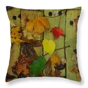 Fall Leaves On The Deck Throw Pillow