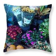 Fall Market Scene In Watercolor Throw Pillow