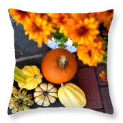 Fall Mums And Pumpkins Throw Pillow