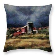 Fall Night At The Farm Throw Pillow