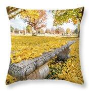 Fall Park Bench Throw Pillow