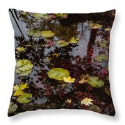 Fall Pond Reflections - A Story Of Waterlilies And Japanese Maple Trees - Take One Throw Pillow