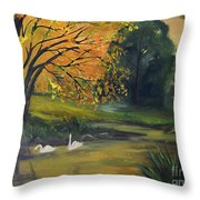 Fall Pond With Swans Throw Pillow