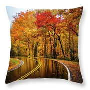 Fall Rain Throw Pillow