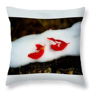 Fall Red Winter White Throw Pillow