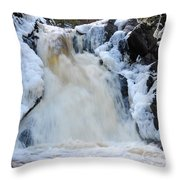 Fall River With Icicles Throw Pillow
