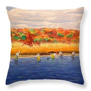 Fall Shellfishing In New England Throw Pillow