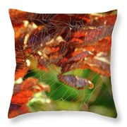 Fall Spiderweb Throw Pillow